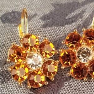 Vintage Monet Golden Flower Earrings